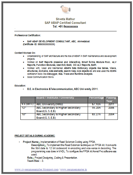 sap abap sample resume