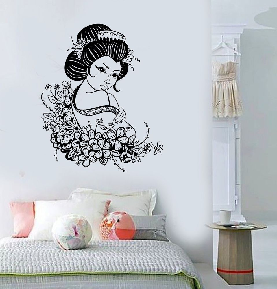 Vinyl Decal Geisha Japan Japanese Flowers Asian Art Decor Wall - Vinyl wall decals asian