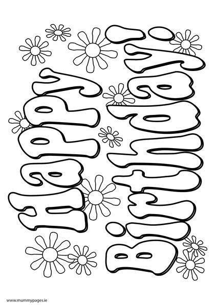 Happy+Birthday+sign.jpg (422×597) | Happy Birthsday coloring | Pinterest