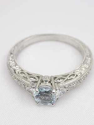 Aquamarine Filigree Engagement Ring