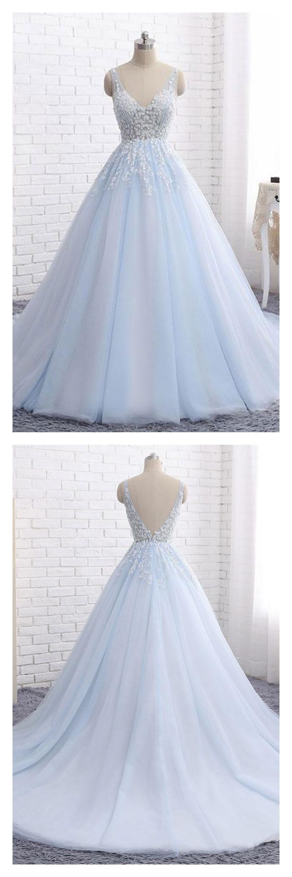 Vneck applique long tulle prom ball gownhs from simi bridal