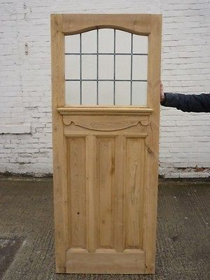 1930S ORIGINAL RECLAIMED EXTERIOR PINE FRONT DOOR WITH TEXTURED STAINED  GLASS