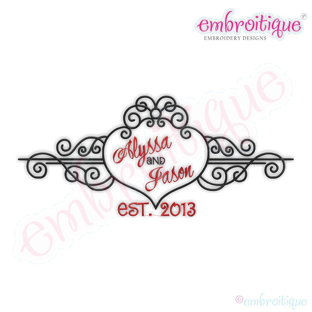 Alyssa Heart Swirly Curly Scroll Monogram Font Frame   machine ...