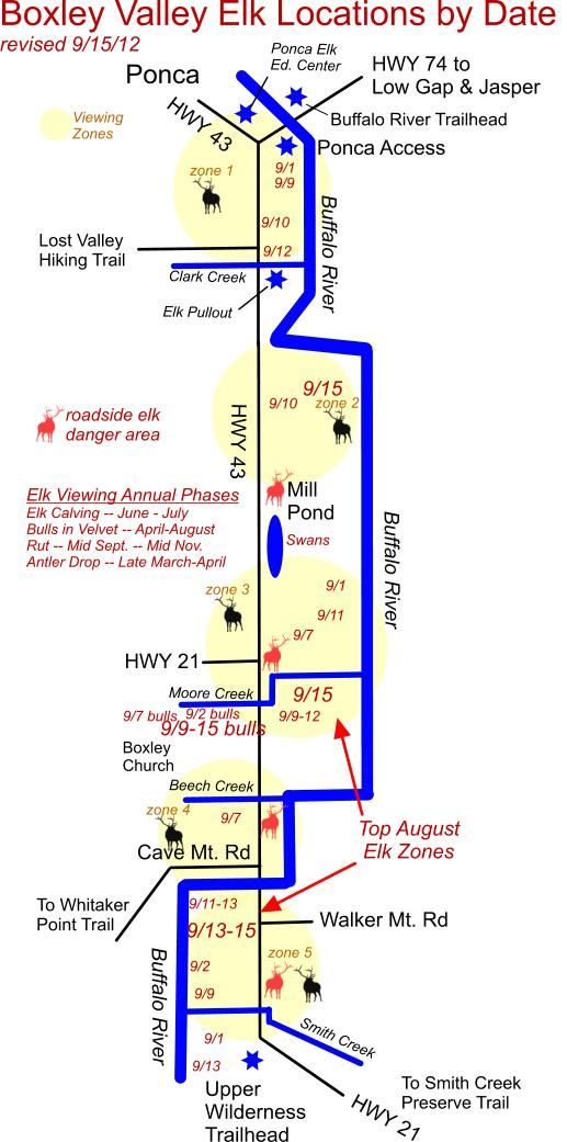 Boxley Valley Arkansas Map.Current Elk Herd Locations In Boxley Valley Near Ponca Ar Visit