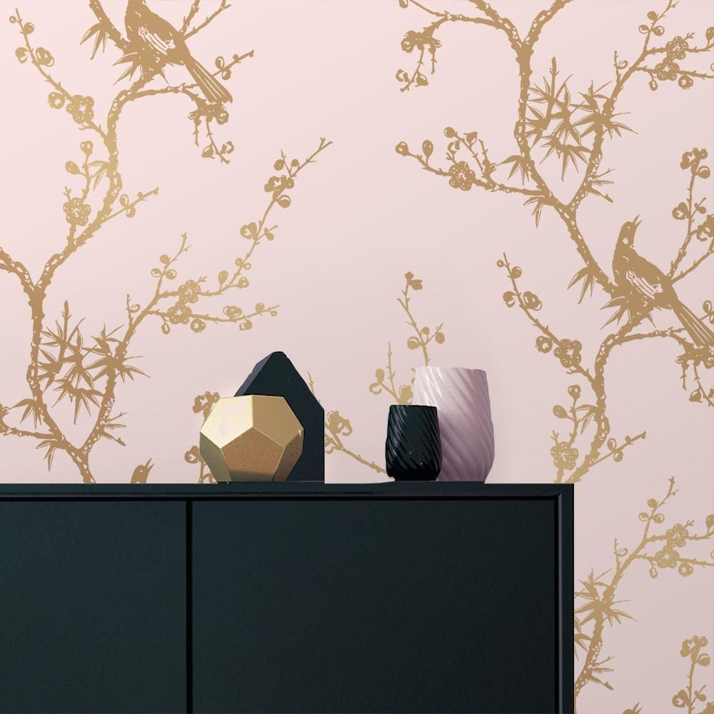 Tempaper Cynthia Rowley Bird Watching Rose Pink and Gold