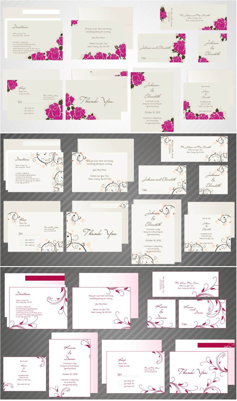 Wedding invitations cards with hearts, doves, roses and beautiful ...