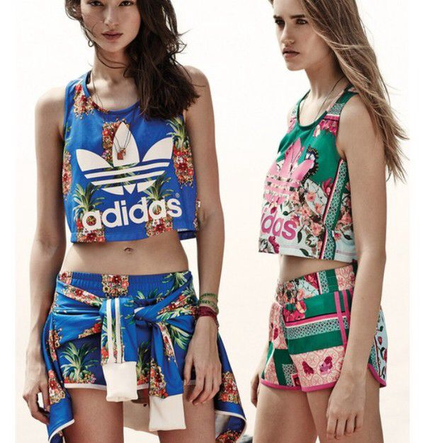 Floral adidas outfit super cute for with shorts | Adidas for cute Mujer e0fcff