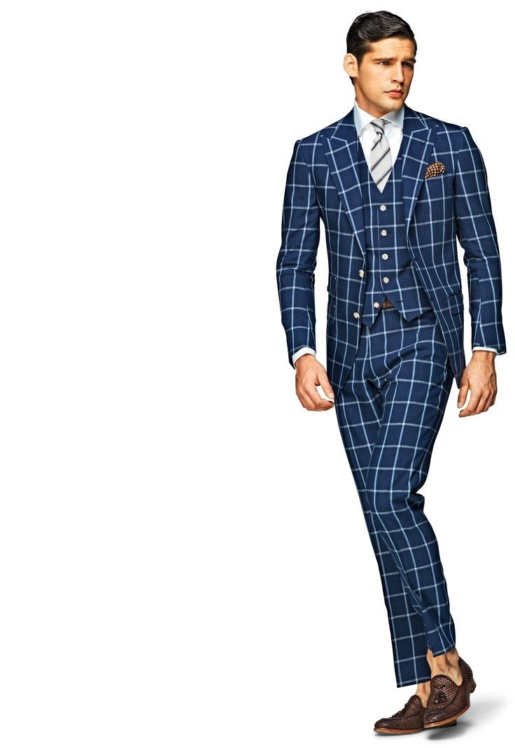 Learned Moss Bros Grey Checked Suit Clothes, Shoes & Accessories