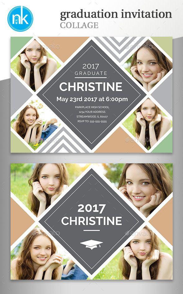 Graduation Invitation Collage With Images Graduation