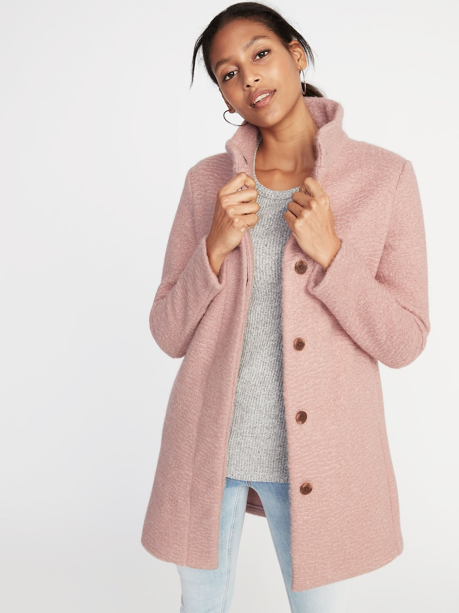 Mock-Neck Bouclé Coat for Women  ab612fa6d