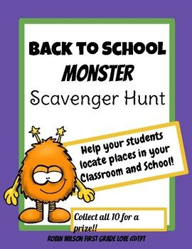 This scavenger hunt is a fun game to help your students learn where to find important places in your classroom or school. Your students will be walking around your room or around school finding places they need to know about while also collecting tiny monsters and placing them on a collection card.