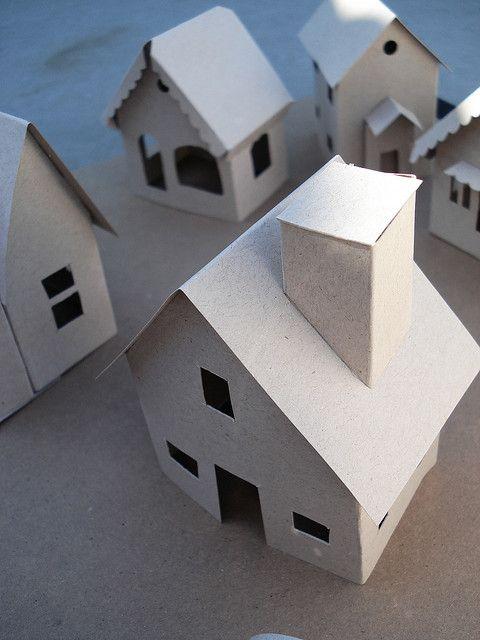 Little paper houses - unfinished | SEASONAL * WINTER | Putz