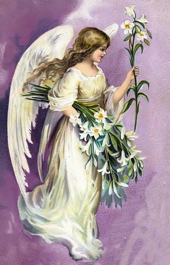 Ангел-хранитель старинная открытка