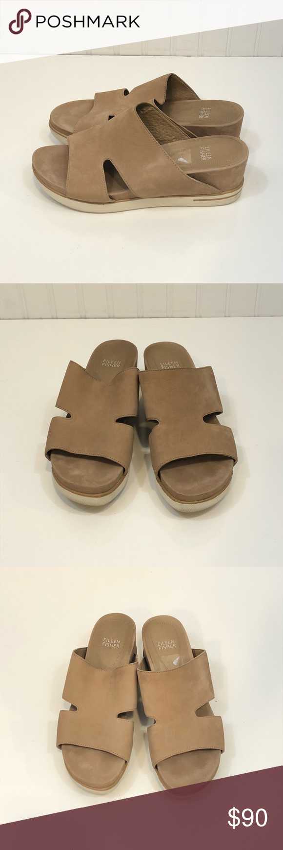 "Eileen Fisher Tan & White Sandals Wedge sandal  Size 9  MOST AMAZING QUALITY! Like new condition worn once Small wedge is 2.5"" tall  These shoes pair with everything!!  Vacation wear Beach  Honeymoon Cruise  Party Eileen Fisher Shoes Sandals #beachhoneymoonclothes"