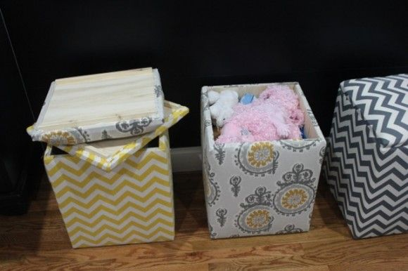 Fabric Covered Storage Bench