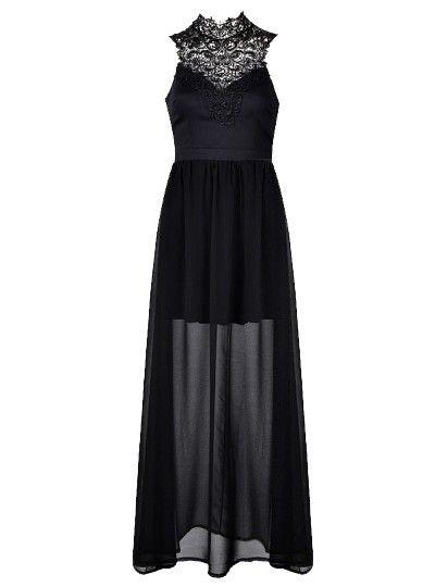 MAXI DRESS WITH CROCHET NECK TRIM - Ally Fashion