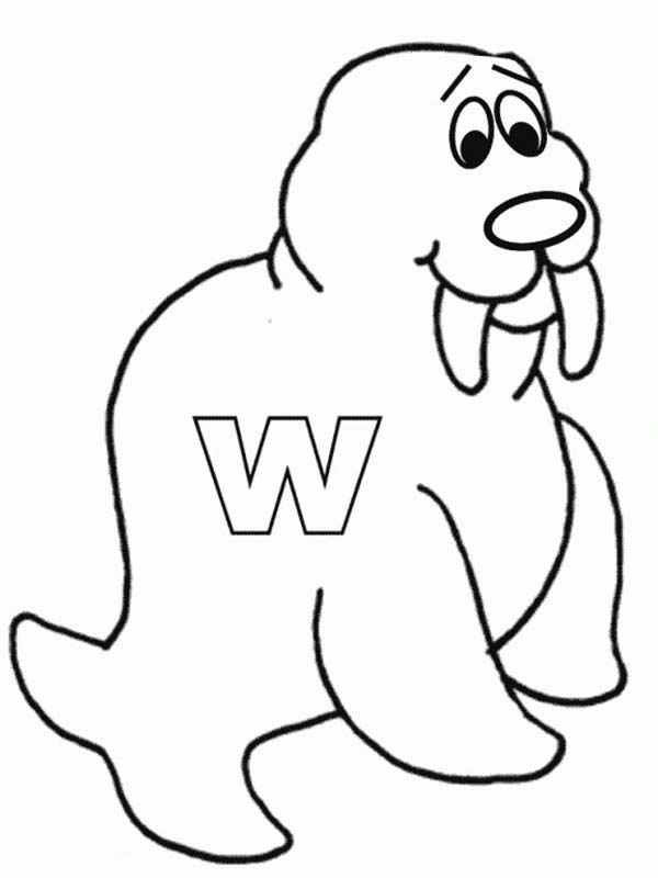 Letter W Is For Walrus Coloring Page : Bulk Color in 2020 ...