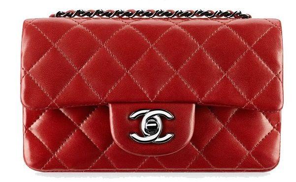 d5a528d990f646 Red Chanel Classic Mini Flap. 13C, Dark Red.   Chanel mini flap in ...