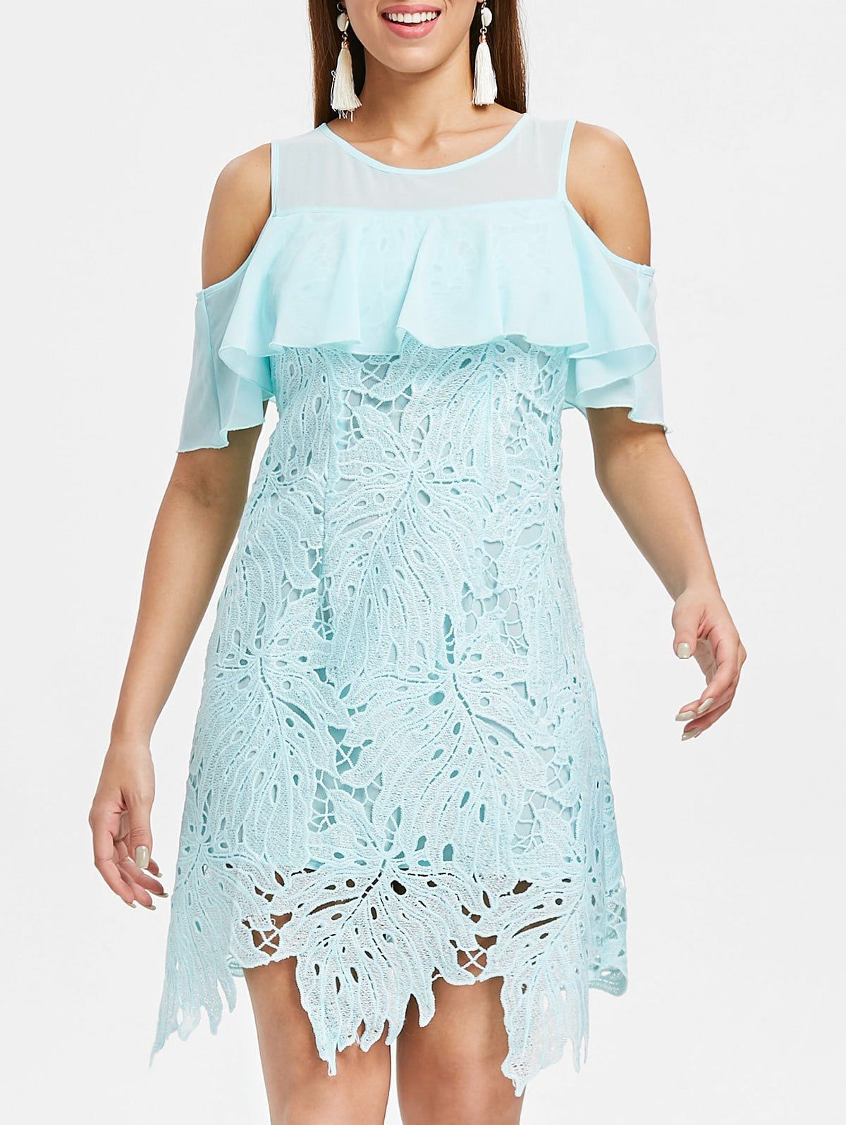 c2a59a475f0 Cold Shoulder Crochet Leaf Lace Dress Trendy dress Use Code  RGBF1 Get 25%  OFF Discount!