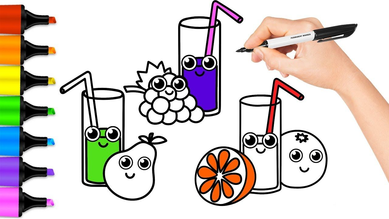Fruit and Fruit Juice Coloring Book for Children We Draw