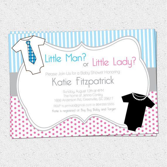 Gender Neutral Reveal Baby Shower Invitation Printable Little M