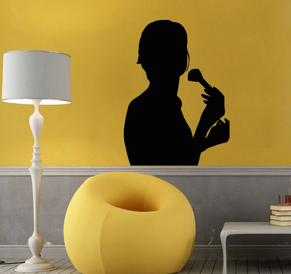 Wall Decals Vinyl Decal Sticker Mural Beauty Salon Decor Girl Powder ...