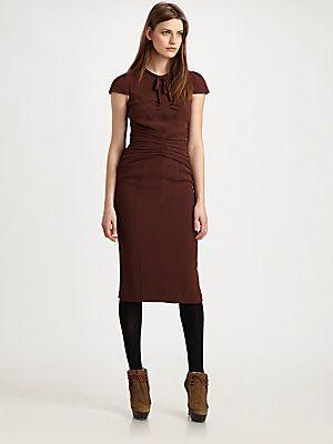 Burberry Prorsum Tie Neck Dress