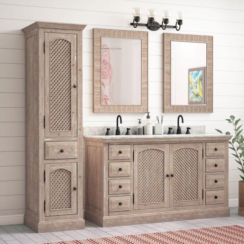 Clemmie 61 Double Bathroom Vanity Set, Clemmie 61 Double Bathroom Vanity Set With Linen Tower