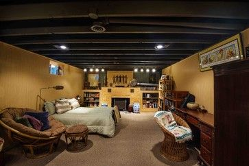 unfinished basement ceiling options basement design ideas pictures remodels and decor. Black Bedroom Furniture Sets. Home Design Ideas