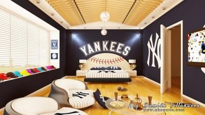 New York Yankees Bedroom Ideas | Yankees Room! Those Chairs!