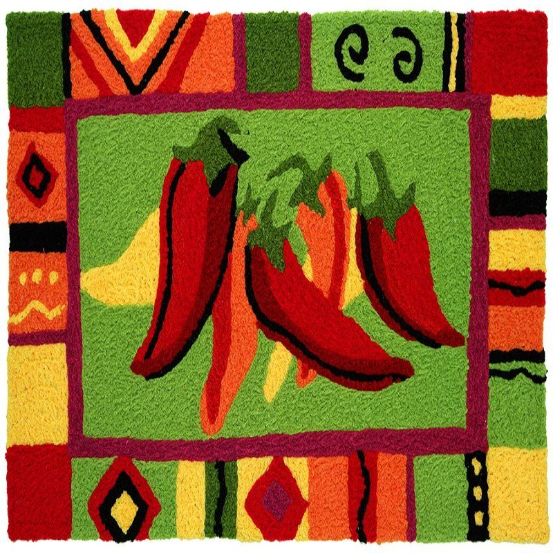 Colorful Mat With Red Chili Peppers Theme For Kitchen Decor