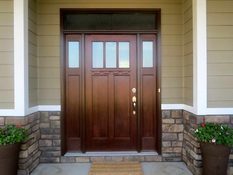 doors single craftsman front entry door with red wooden stained