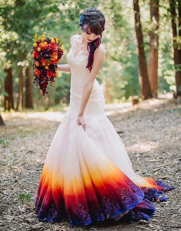 Elegant Multi Color Dip Dye Wedding Dress With Appliques Wedding Dip Dye Wedding Dress Dye Wedding Dress Wedding Dress Trends
