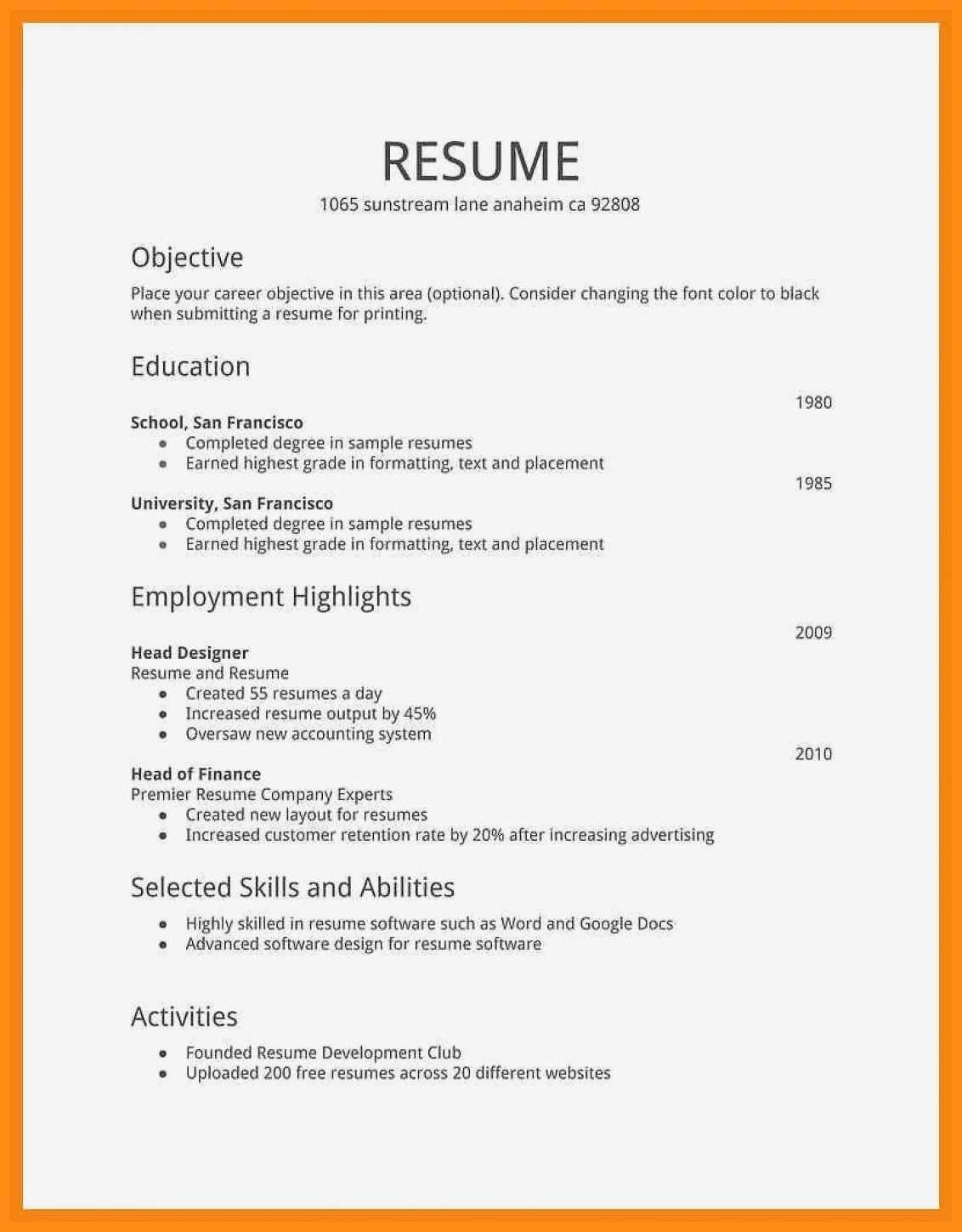 Example Simple Resume Template Example Simple Resume Template