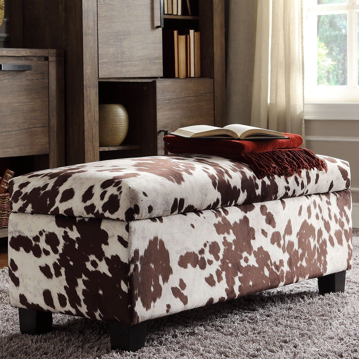 INSPIRE Q Sauganash Cowhide Print Lift Top Storage Bench , Add A Fun Design Element To Your Bedroom. -- Awesome products selected by Anna Churchill