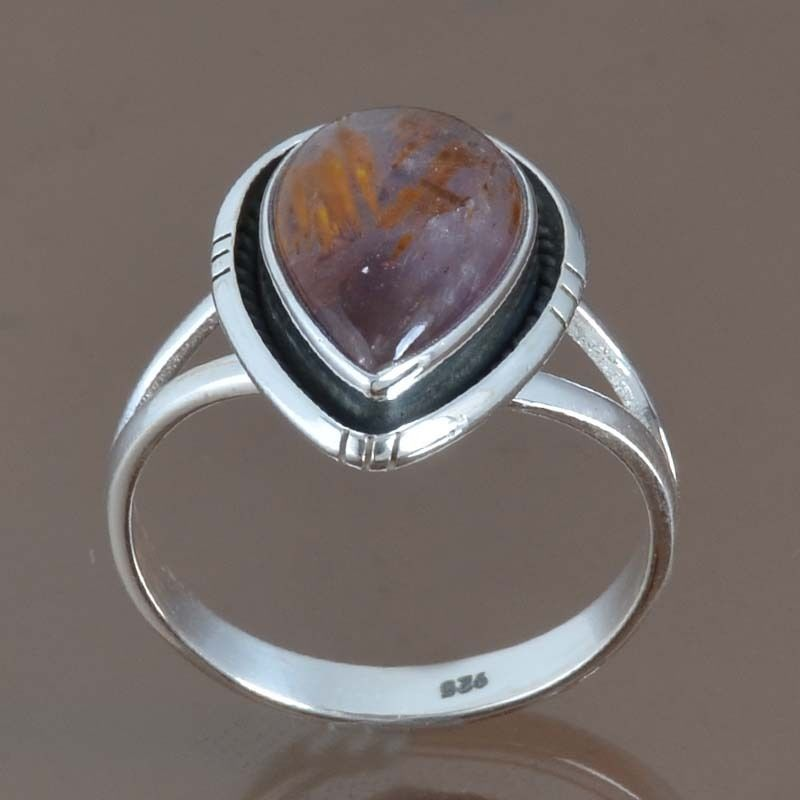 925 SOLID STERLING SILVER EXCLUSIVE CACOXONITE RING 4.35g DJR9088 SIZE-9 #Handmade #Ring