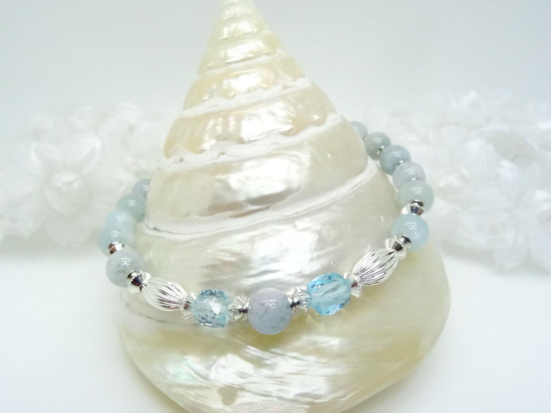 COLLIER soirée véritables perles naturelles blanc crème cristal et pierres BLEU