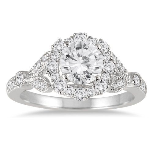 1 1/3 Carat Antique Diamond Halo Engagement Ring in 14K White Gold - Listing price: $6,999.00 Now: $1,779.00