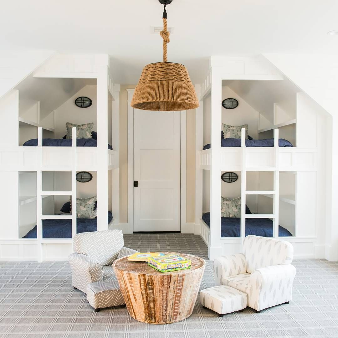 2 123 Likes 18 Comments Home Bunch Homebunch On Instagram Featured On Home Bunch Coastal Farmhouse Bunkroom Wi Bunk Beds Built In Built In Bunks Home