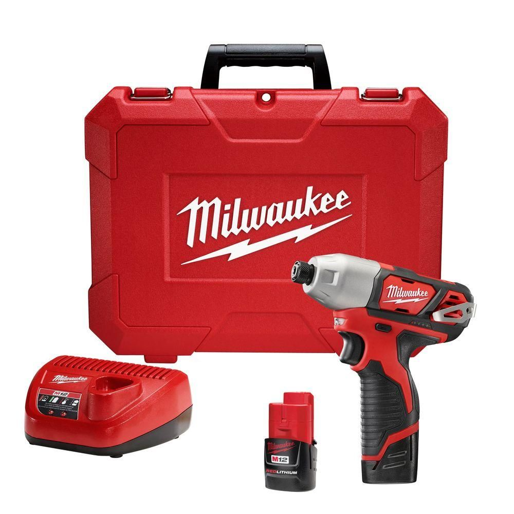 Milwaukee M12 12 Volt Lithium Ion Cordless 1 4 In Impact Driver Kit W 2 1 5ah Batteries Charger Case 2462 22 Cordless Drill Reviews Milwaukee M12 Drill Driver