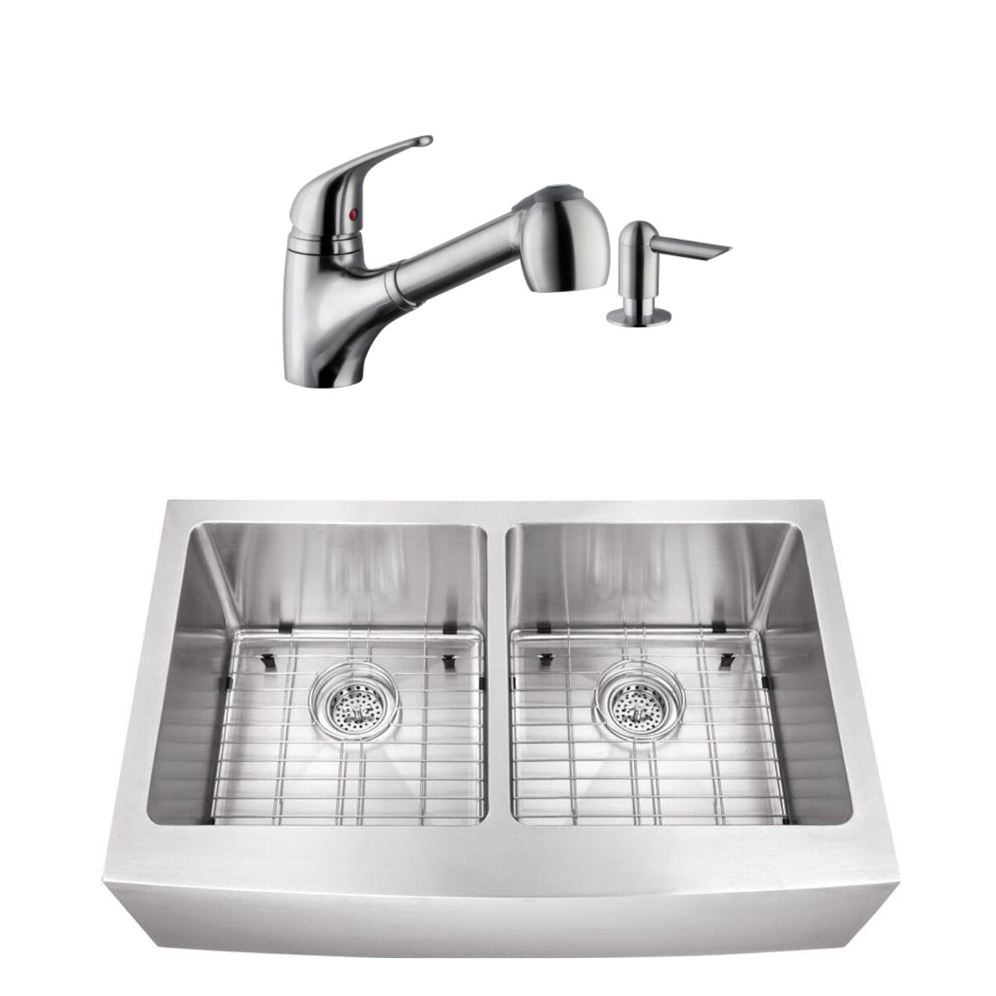 Cahaba Undermount 32 7 8 In 50 50 Bowl Apron Front 16 Ga Stainless Steel Kitchen Sink And Low Profile 1 Handle Pull Out Kitchen Faucet With Dispenser In Brushed Nickel In 2019 Stainless Steel Kitchen