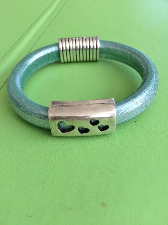Silver Heart Slide and Leather Bracelet by joytoyou41 on Etsy