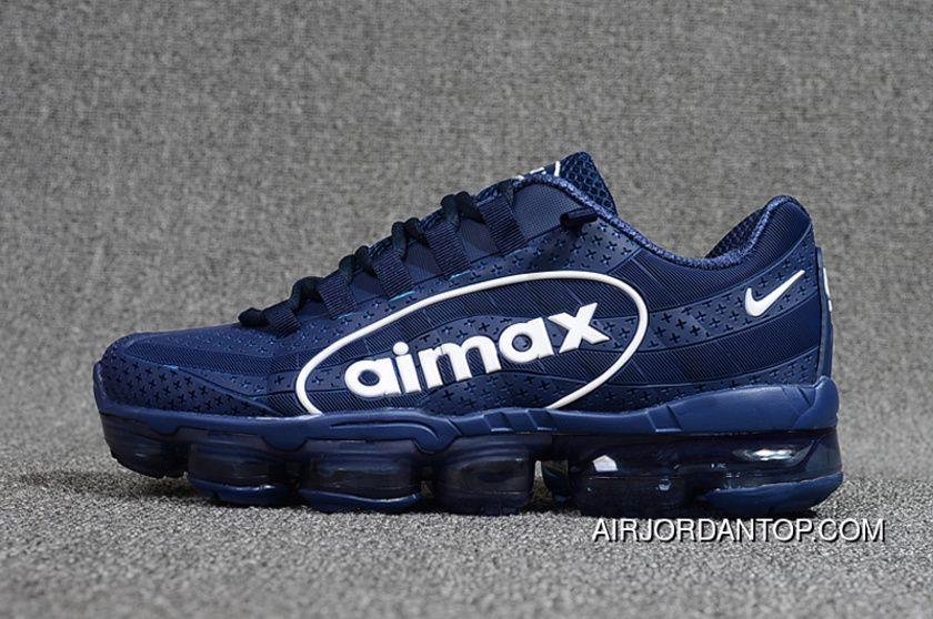 f05805b45b095 9518 Nike Air VaporMax 95 OG Undftd Kpu BIG LOGO Mens Running Shoes AJ7183  441 Navy White 40--47 New Style