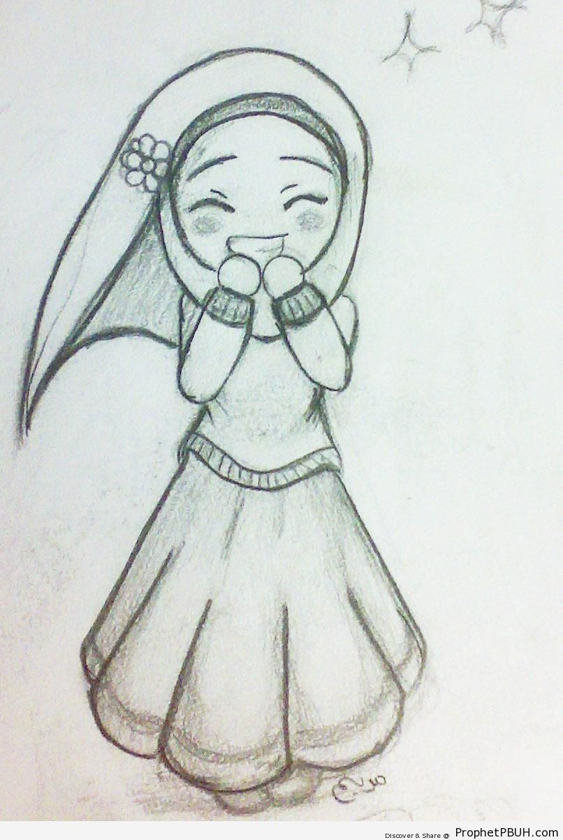 Happy Cute Hijabi Girl Chibi Drawing Chibi Drawings Cute