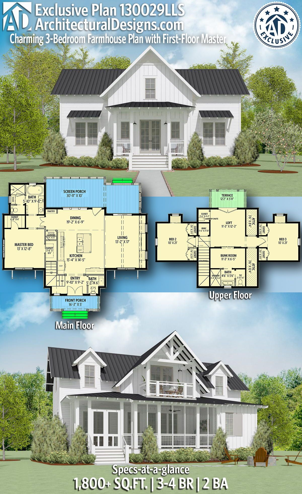 Introducing Architectural Designs Exclusive 3 Bedroom Farmhouse Plan 130029lls With 3 4 Beds 2 Full Ba House Plans Farmhouse Farmhouse Plans Dream House Plans