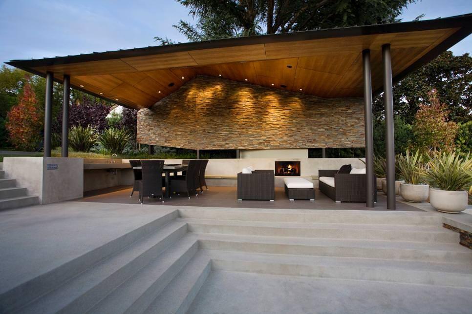 Delightful Asymmetrical Patio Cover Design