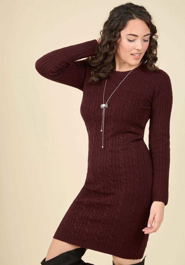 c1dcb7cc88 Luxe Lodge Sweater Dress in Merlot