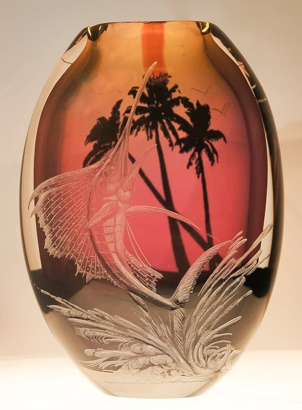 Hand engraved vase sailfish engraved floral vase sailfish hand hand engraved vase sailfish engraved floral vase sailfish hand blown vase engraved with sailfish and hand painted trees in the background reviewsmspy