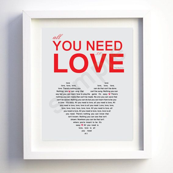 Be Our Guest Lyrics Sheet Music: ALL You Need Is LOVE Typography Wall Art Print