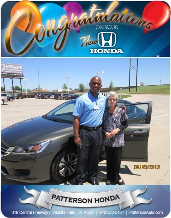 Congratulations Gay Nell Arlington On Your Honda Accord   From Kevin A.  Francis At Patterson Honda